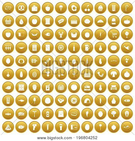 100 grocery shopping icons set in gold circle isolated on white vector illustration