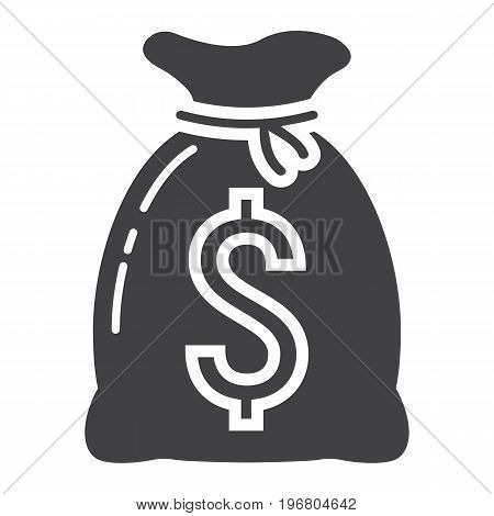 Money bag glyph icon, business and finance, dollar sign vector graphics, a solid pattern on a white background, eps 10.