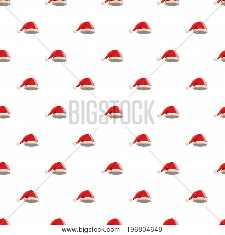 Christmas red hat with pompom pattern seamless repeat in cartoon style vector illustration