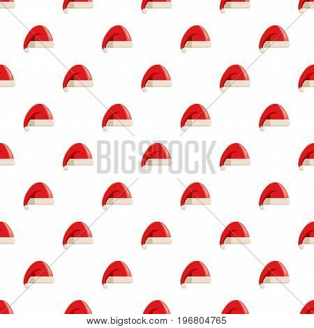 Red hat with pompom of Santa Claus pattern seamless repeat in cartoon style vector illustration
