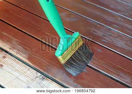 Oiling wooden terrace with brown wood oil and green brush.