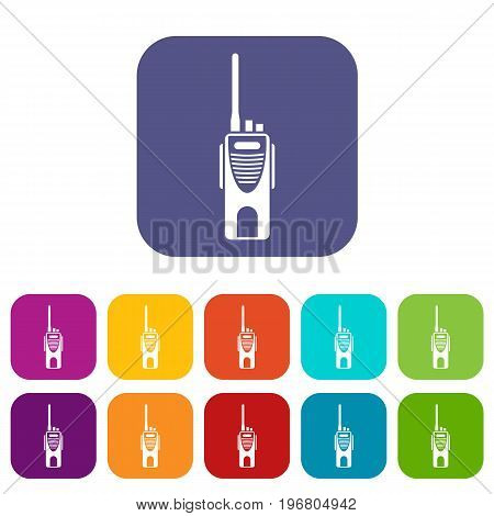 Radio transmitter icons set vector illustration in flat style in colors red, blue, green, and other