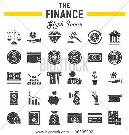 Finance glyph icon set, business symbols collection, marketing vector sketches, logo illustrations, business signs solid pictograms package isolated on white background, eps 10.