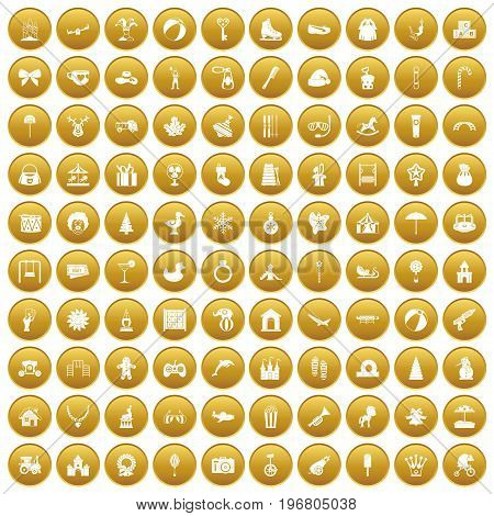 100 happy childhood icons set in gold circle isolated on white vector illustration