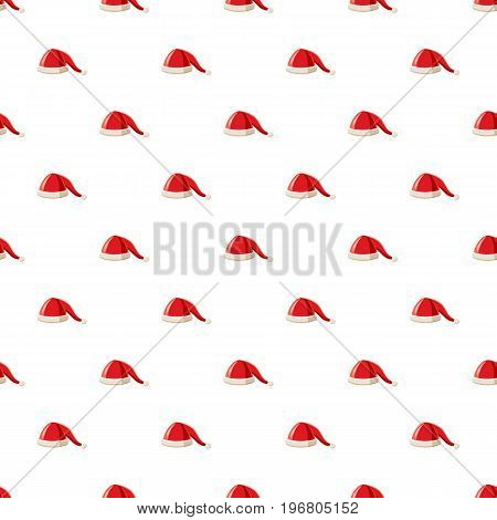 Hat with pompom of Santa Claus pattern seamless repeat in cartoon style vector illustration