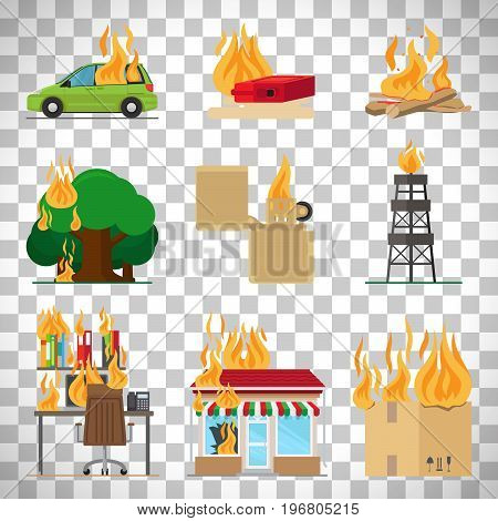 Fire risk icons. Fire in home and building, forgot fire vector signs for insurance and fire safety infographic isolated on transparent background