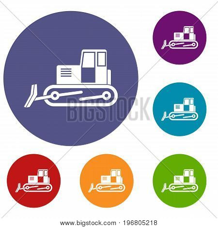 Bulldozer icons set in flat circle red, blue and green color for web