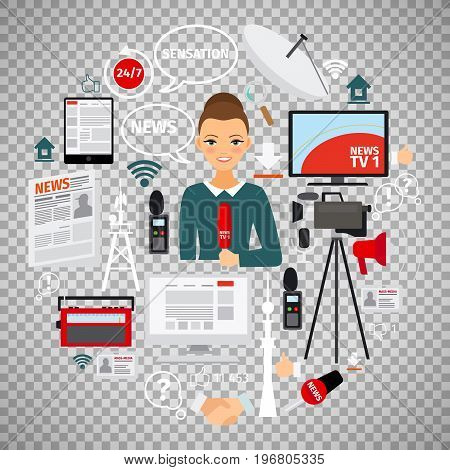 News and journalist concept with flat icons isolated on transparent background. Vector illustration