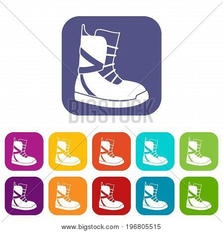 Boot for snowboarding icons set vector illustration in flat style in colors red, blue, green, and other