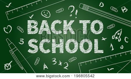 Back to school vector illustration. Line art banner Back to school with different elements: pencil pen ruler staple. Dark green chalk board template graphic design.