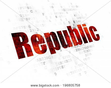Political concept: Pixelated red text Republic on Digital background