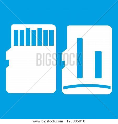 Both sides of SD memory card icon white isolated on blue background vector illustration
