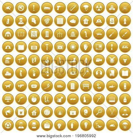 100 help icons set in gold circle isolated on white vector illustration