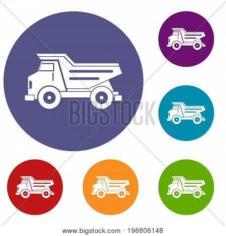 Dump truck icons set in flat circle red, blue and green color for web