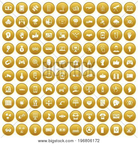 100 hi-tech icons set in gold circle isolated on white vector illustration