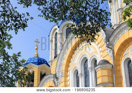 KIEV, UKRAINE - MAY 2, 2011: This is domes of the Cathedral os St. Vladimir the main temple of the Ukrainian Orthodox Church of the Kiev Patriarchate.