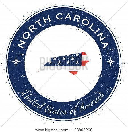 North Carolina Circular Patriotic Badge. Grunge Rubber Stamp With Usa State Flag, Map And The North