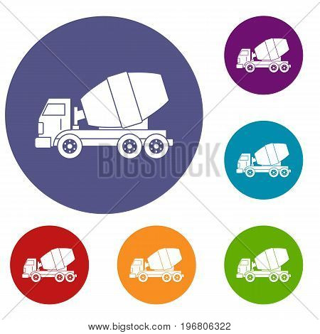 Truck concrete mixer icons set in flat circle red, blue and green color for web
