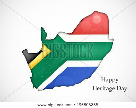 illustration of map in south Africa flag background with Happy Heritage Day text on the occasion of Heritage Day