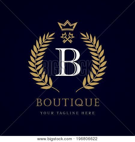 Laurel elegant beautiful round logo with crown and key. Vector letter emblem sign B for Royalty, Restaurant, Boutique, Hotel, Heraldic, Jewelry