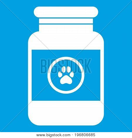 Treatment solution for animals icon white isolated on blue background vector illustration