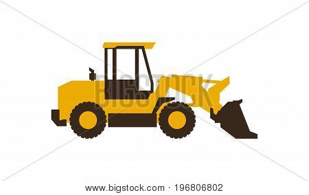 Icon front loader. Construction machinery. Vector illustration. Flat style