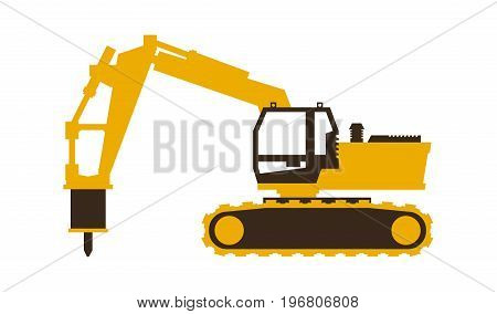 Icon excavator with his hammer. Construction machinery. Vector illustration. Flat style