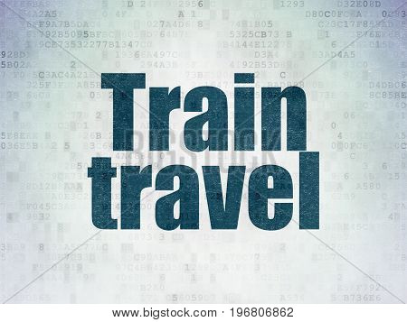 Vacation concept: Painted blue word Train Travel on Digital Data Paper background