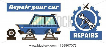 Horizontal banner template on car repairs. Repair logo, hand holding a wrench. The car with the wheels removed. We see the braking system and the chassis of the machine. Vector illustration