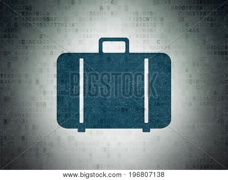 Vacation concept: Painted blue Bag icon on Digital Data Paper background