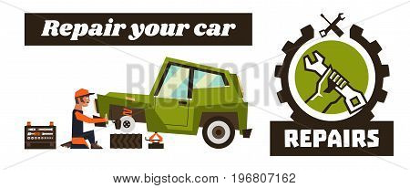 Horizontal banner template on car repairs. Repair logo, hand holding a wrench. The car and remove a wheel. Mechanic restores the braking system of the car. Vector illustration. Flat style.