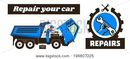 Horizontal banner template on car repairs. Repair logo, hand holding a wrench. Auto mechanic examines the engine. The cab of the machine tilted. Vector illustration. Flat style.