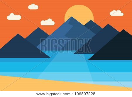 Vector panorama of the sunset in the mountains by the sea