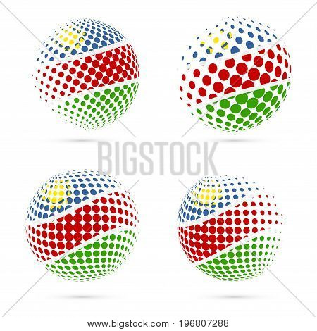 Namibia Halftone Flag Set Patriotic Vector Design. 3D Halftone Sphere In Namibia National Flag Color