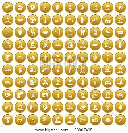 100 human resources icons set in gold circle isolated on white vector illustration