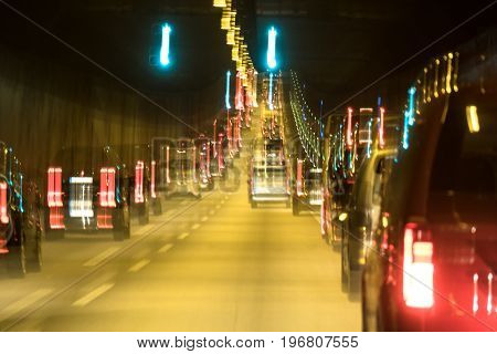 The traffic is queing in the Elbtunnel of the city of Hamburg, Germany