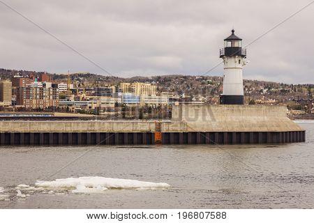 Duluth Lighthouse and Lake Superior. Duluth Minnesota USA.