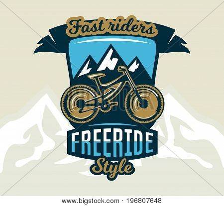 Logo mountain bike. The emblem of the bicycle and the mountains. Extreme sport. Freeride, downhill, cross-country. Badges shield, lettering. Vector illustration.