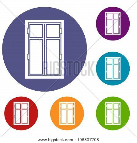 Wooden window icons set in flat circle red, blue and green color for web