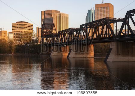 Skyline of Winnipeg at sunrise. Winnipeg Manitoba Canada.