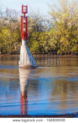 Small Lighthouse on Red River in Winnepeg. Winnipeg Manitoba Canada.
