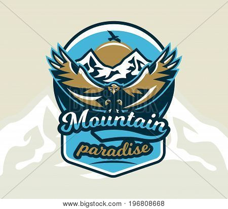 Logo, emblem of an eagle flying. Mountains, rocks. Badges shield, lettering. Vector illustration.