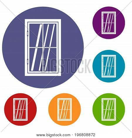 Closed window icons set in flat circle red, blue and green color for web