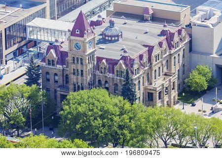 Calgary City Hall - aerial photo. Calgary Alberta Canada.