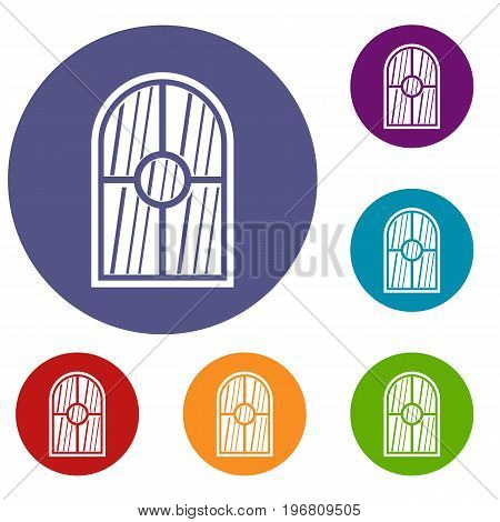 Arched window icons set in flat circle red, blue and green color for web
