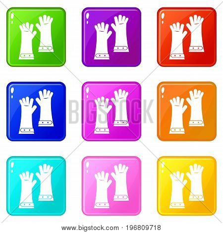 Heat resistant gloves for welding icons of 9 color set isolated vector illustration