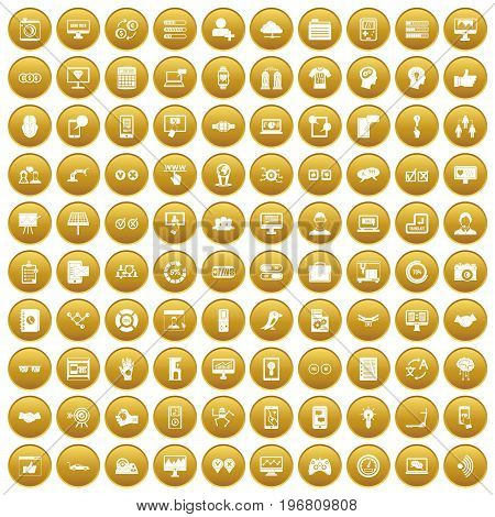 100 interface icons set in gold circle isolated on white vector illustration