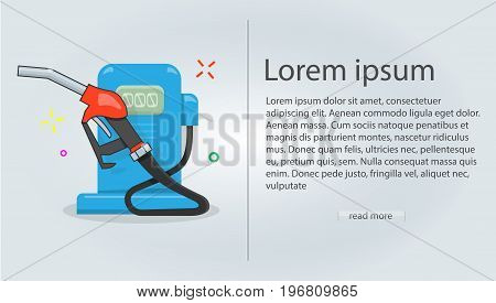 Flyer template gas station vector illustration, cartoon style for the web site. Modern style for graphic design and printing.