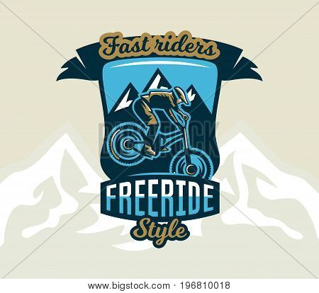 Colorful logo, emblem, label, club riders perform tricks on a mountain bike on a background of mountains, isolated vector illustration. Club downhill, freeride. Print on T-shirts