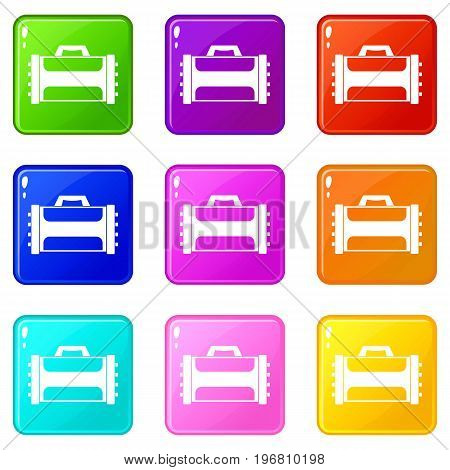 Welding machine icons of 9 color set isolated vector illustration
